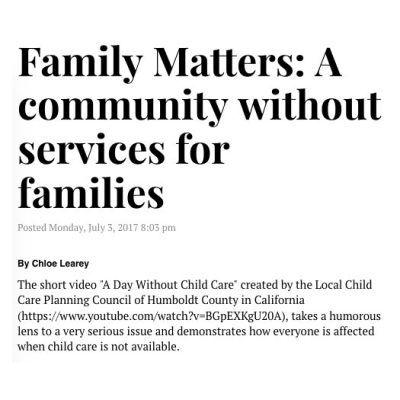 Family Matters – A Community Without Services for Families