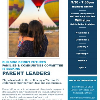 The Building Bright Futures Families & Communities Committee seeking parents leaders