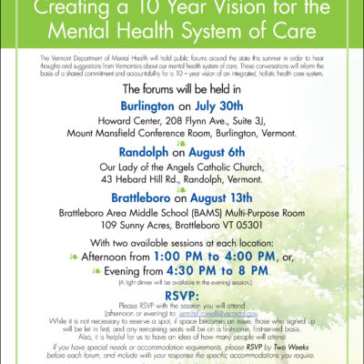 VT Department of Mental Health listening session in Brattleboro Aug. 13