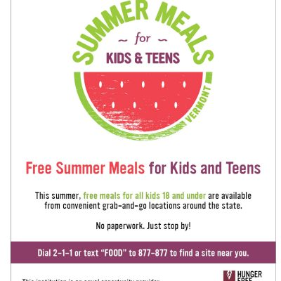 Summer meals for children ages 18 and under