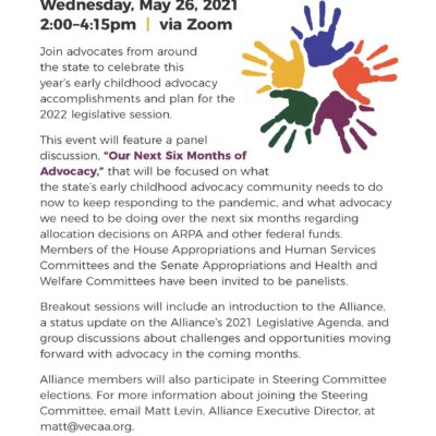 Vermont Early Childhood Advocacy Alliance Annual Meeting